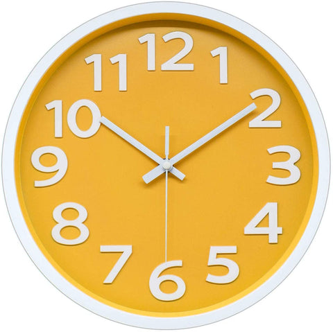 Bright yellow clock with white frame and large white numbers