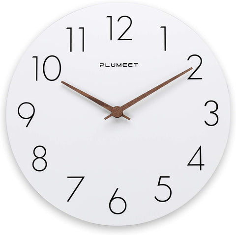 Simple white clock with no frame, black numbers and wood hands