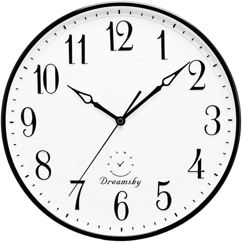 White clock with black border, black numbers