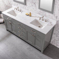 double vanity sing with white marble top