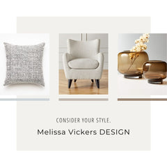 Image on left is of a pillow, middle image is of a chair and image on the right is 2 light brown glass vases.