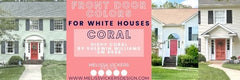 3 different house images all with coral front doors.