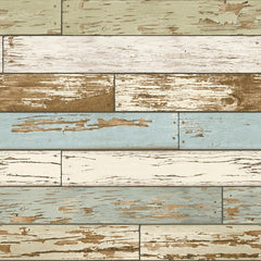 Wall paper made to look like slats of older wood in painted colors such as white, light greens and blues