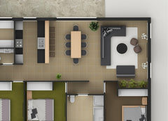 Close up of a rendered floor plan showing an open living room, dining room and kitchen.