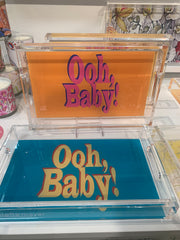 """Clear accent trays with fun words in fun colors that say, """"Ooh, Baby!"""""""