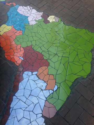 tile mosaic of south america from cochabamba bolivia photo by melissa vickers mama llama originals