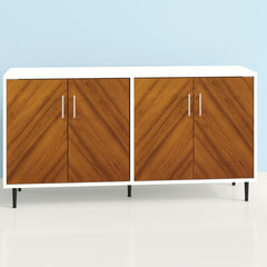 White frame double sideboard with wood doors