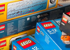 Close up of various Lego packages