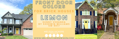 3 brick houses with yellow front doors