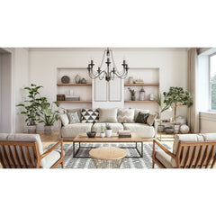 Neutral colored living room, looking at a sofa, back wall has 2 sets of shelves