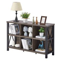 2 x 3 storage cube shelf unit with books and items on it.