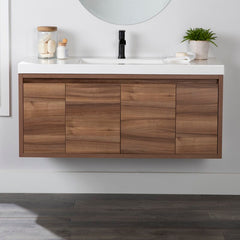 wooden vanity with double sink modern