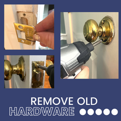 3 photos that show removing the various parts of a door knob.
