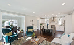 Open floor plan of a living room into a kitchen.  Living Room section has a floor rug.