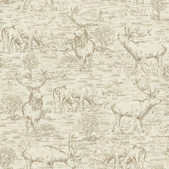 Cream wallpaper with deer toile drawn in brown.