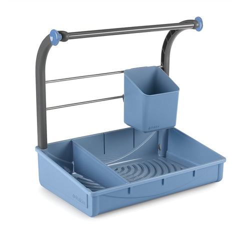 STand alone under sink storage caddy and rack for hanging spray bottles or rags