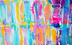 A colorful piece of abstract art, using thick brush strokes and a lot of bright colors.