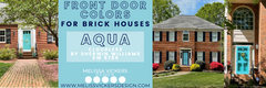 3 different brick houses with aqua colored doors