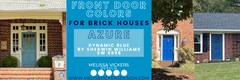 3 brick houses with blue doors