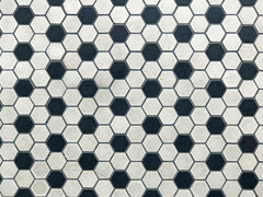 Close up of hexagonal black and white tile floor