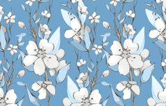 Wallpaper with blue background and white dogwood flowers outlined in gray