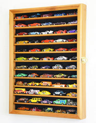Display case showing Hot Wheels cars only