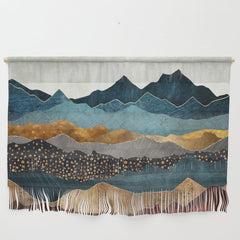 Hanging fabric with an image of mountains in blues