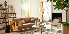 Living room set up using all West Elm furniture and decor