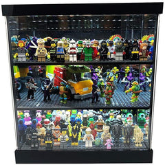 Black and acrylic Lego display case that holds Legos