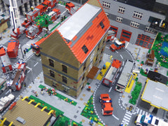 Looking down into a model of a town built with Legos