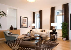 Brown and white living room with a patterned rug defining the seating area.