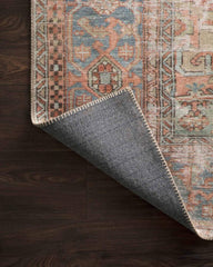 loloi rug terracotta sky colorway showing a closeup of the top a backing