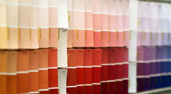 A store rack of paint chips