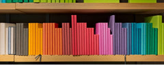 Rainbow colored books organized on a shelf by color