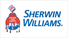 Sherwin Williams logo, paint can dropping back on the planet