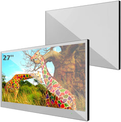A TV mirror with the image of a giraffes on it.