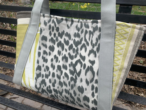 Large Handbag - Gray and Spring Green - Melissa Vickers Design