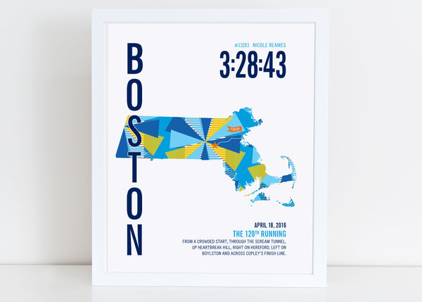 boston marathoner personalized course poster