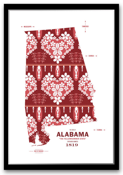 Alabama state map print poster