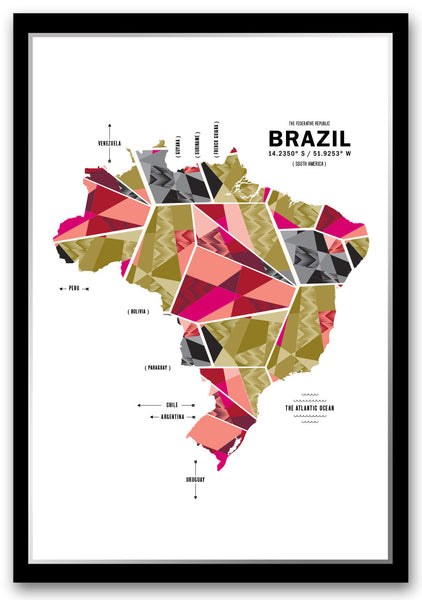 Personalized Brazil Map Print Poster