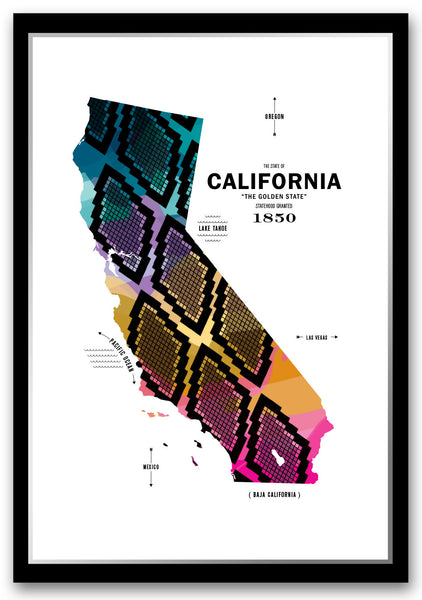 California Map Print Poster