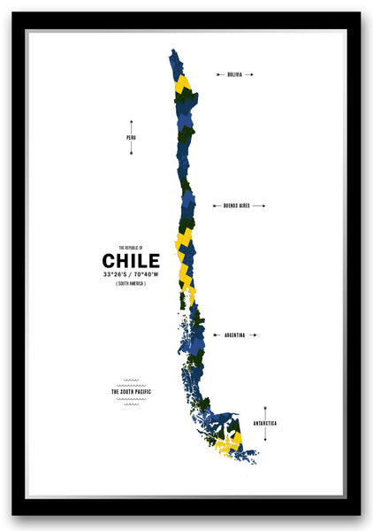 Chile Map Print Poster