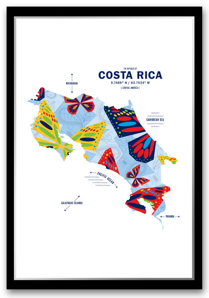 Personalized Costa Rica Map Print Poster
