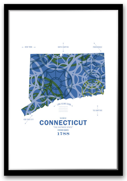 Personalized Connecticut Map Print Poster