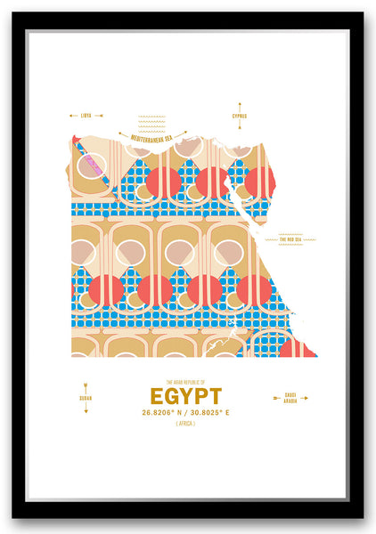 Egypt Map Print Poster