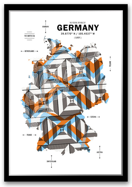 Germany Map Print Poster
