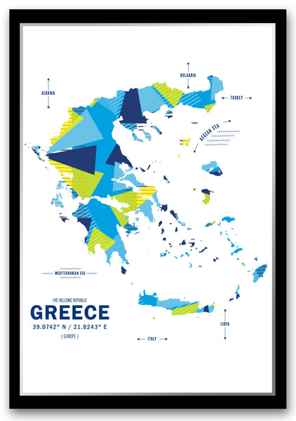Greece Map Print Poster