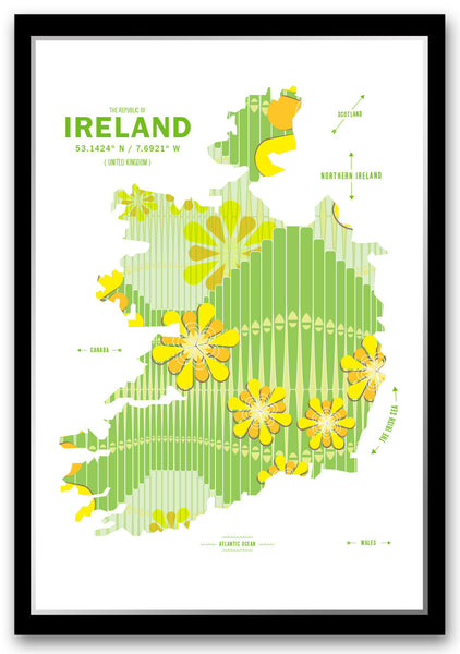 Personalized Ireland Map Print Poster