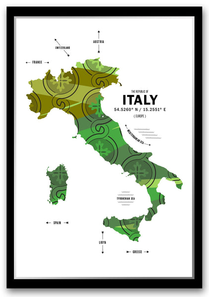 Italy Map Print Poster
