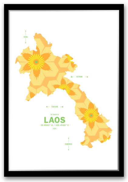 Personalized Laos Map Print Poster
